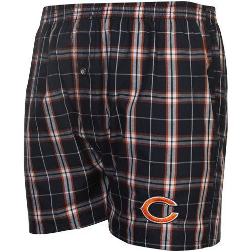 "Bears Navy Draft Pick Boxer Shorts by Concepts Sport. $17.95. Elastic waistband. Officially licensed. Draft Pick Boxer Shorts. 55% Cotton/45% Polyester. Embroidered design. Chicago Bears Draft Pick Plaid Boxers - Navy BlueImportedOfficially licensed NFL productQuality embroiderySingle button flyNo pocketsElastic waistband55% Cotton/45% PolyesterSize S has 3"" inseam55% Cotton/45% PolyesterQuality embroideryElastic waistbandSingle button flyNo pocketsSize S has 3"" inseam..."