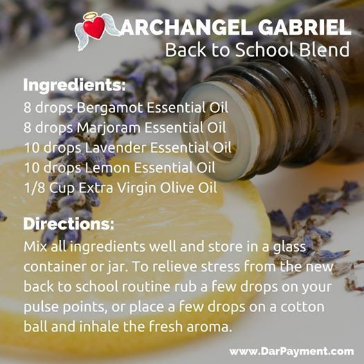 Archangel Gabriel Back to School Blend. To relieve stress from the new back to school routine rub a few drops on your pulse points, or place a few drops on a cotton ball and inhale the fresh aroma. #archangels, #archangel gabriel, #essential oils