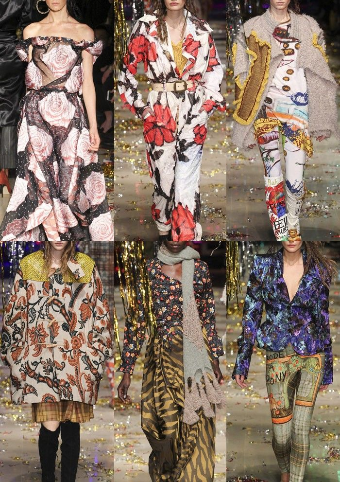 VIVIENNE WESTWOOD I Large Scale Rose Prints – Painterly Applications – Slogan Graphics – Chintz Style tapestries – Small Floral Clusters – Eclectic Fabric Mixing I PARIS Fashion Week