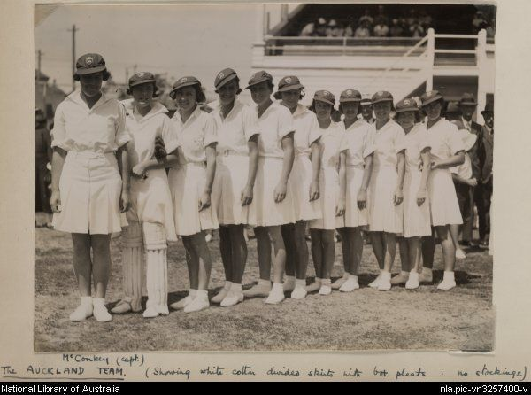 The Auckland women's cricket team, 1935, to play the English visitors. Source: National Library of Australia Via: @nlagovau