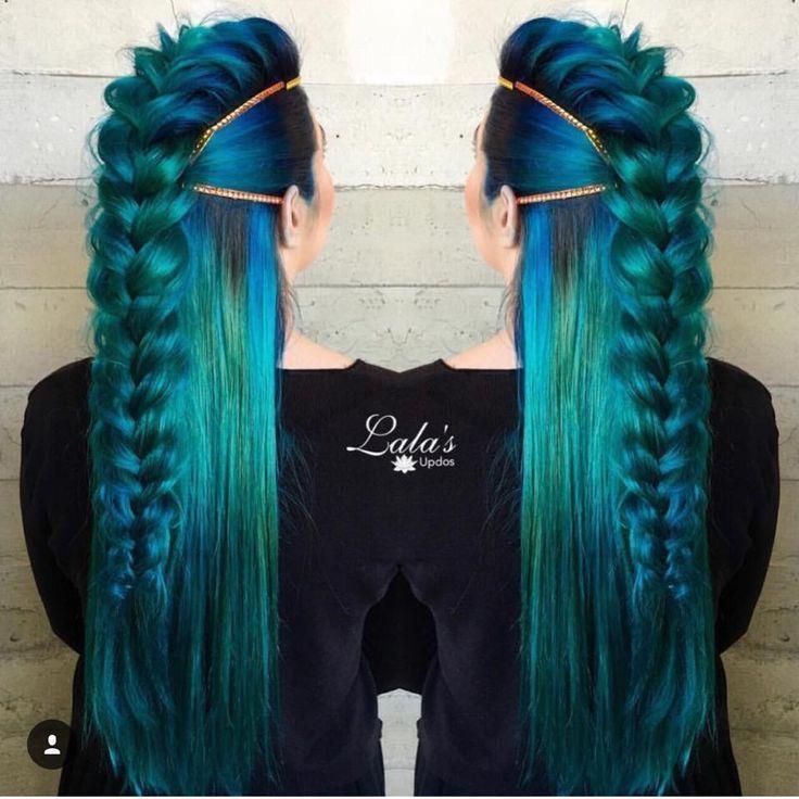 Mermaid inspires hair. Loose braid, streaks, ombre, royal blue, black, emerald green, sapphire, northern lights, aurora inspire