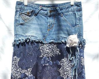 Denim Lace Skirt Tattered Hippie Fairytale Boho by PrimitiveFringe