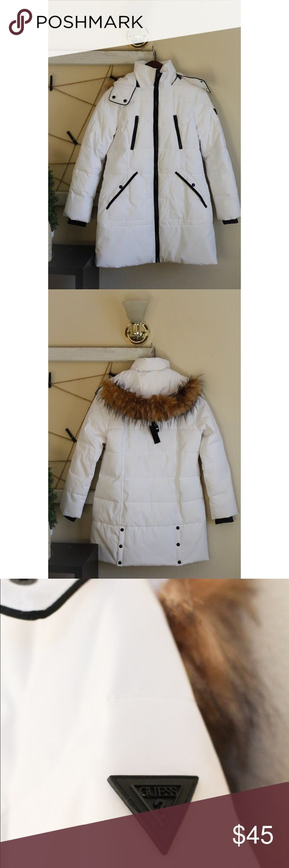 White Guess long jacket w/ fur hood Worn once, in great condition! Guess Jackets & Coats Trench Coats