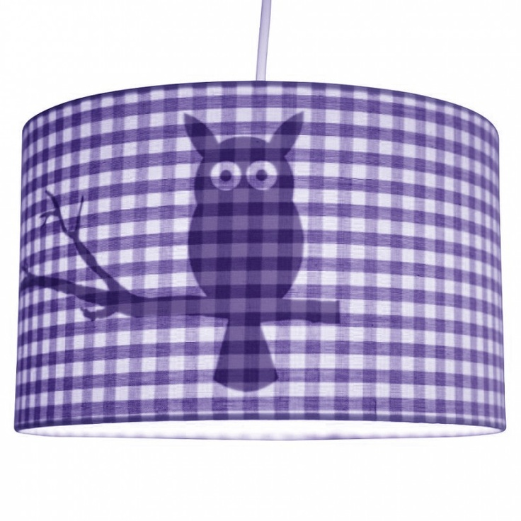 Hanging lamp Owl in purple by Little Dutch -  Hanglamp Little Dutch Uil - Paarse ruit