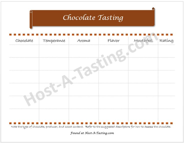 Go beyond the 1-5 scale and evaluate chocolates like an expert.  Chocolate Tasting Notes Sheet.
