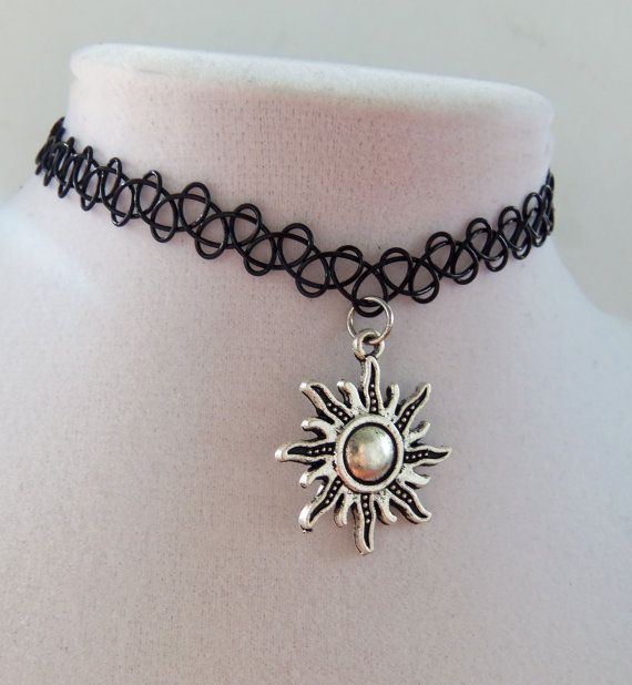 Charm tattoo choker celestial sun stretchy by BubbleGumGraffiti