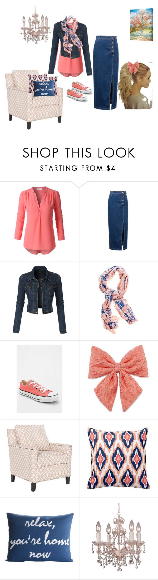 """Ivy's peach outfit"" by ivycraun1 ❤ liked on Polyvore featuring LE3NO, Converse, Decree, Safavieh, Alexandra Ferguson, Crystorama and ArtWall"