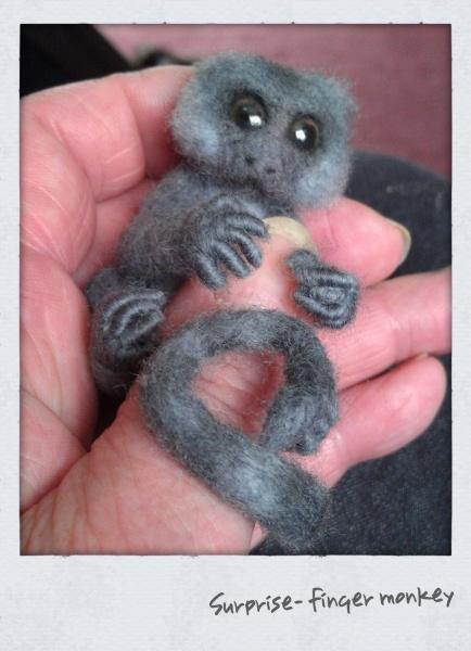 Needle felted Finger Monkey
