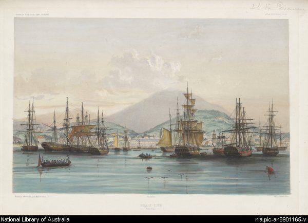 Hobart-Town, Van Diemens Land, Tasmania, Australia c.1841.v@e