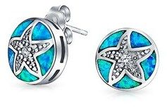 Bling Jewelry Cz Simulated Blue Opal Inlay Starfish Nautical Stud Earrings 925 Sterling Silver 12mm.