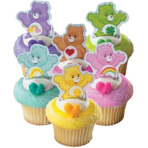 12 Care Bears Finger puppet CUPCAKE / Cake Picks toppers birthday party favors supplies decorations treat bag fillers