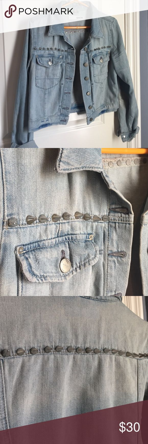 Studded Denim Jacket Edgy Topshop jacket with spiky stud detailing on the back and front. Hits at about the waist on someone average height. Runs a bit small Topshop Jackets & Coats Jean Jackets