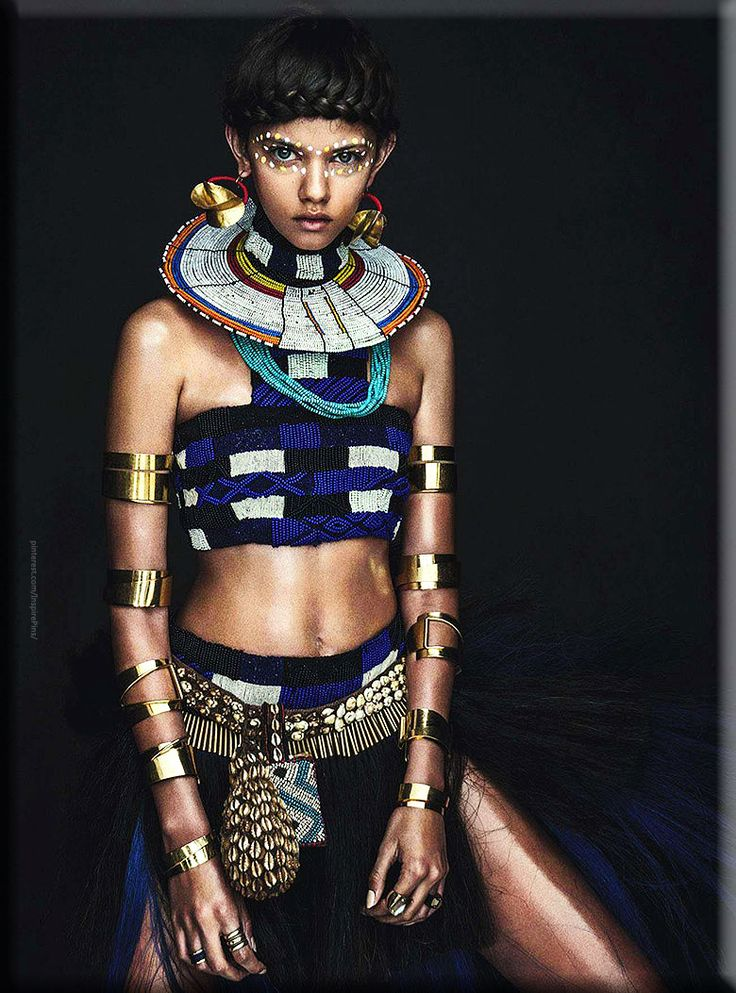 Marina Nery for Vogue Australia Apr '14 Source | The Fashionography, Alexander McQueen beaded skirt and top