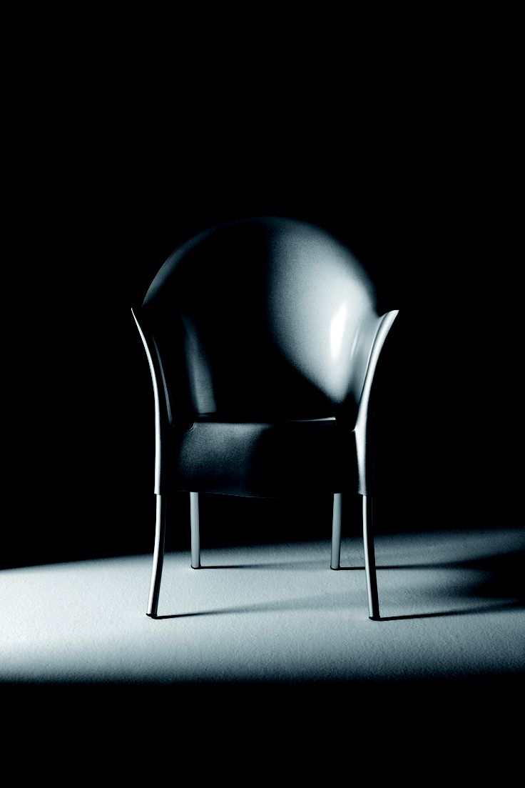 LORD YO By Philippe Starck Stackable armchair. Aluminum structure. White, ivory, grey blue, anthracite grey, red, anthracite black or silver painted polypropylene shell. Loose cover is available in white cotton or white piquet.