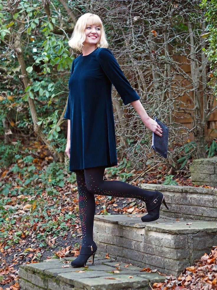 Velvet Swing Dress With Multi-Coloured Crystal Tights