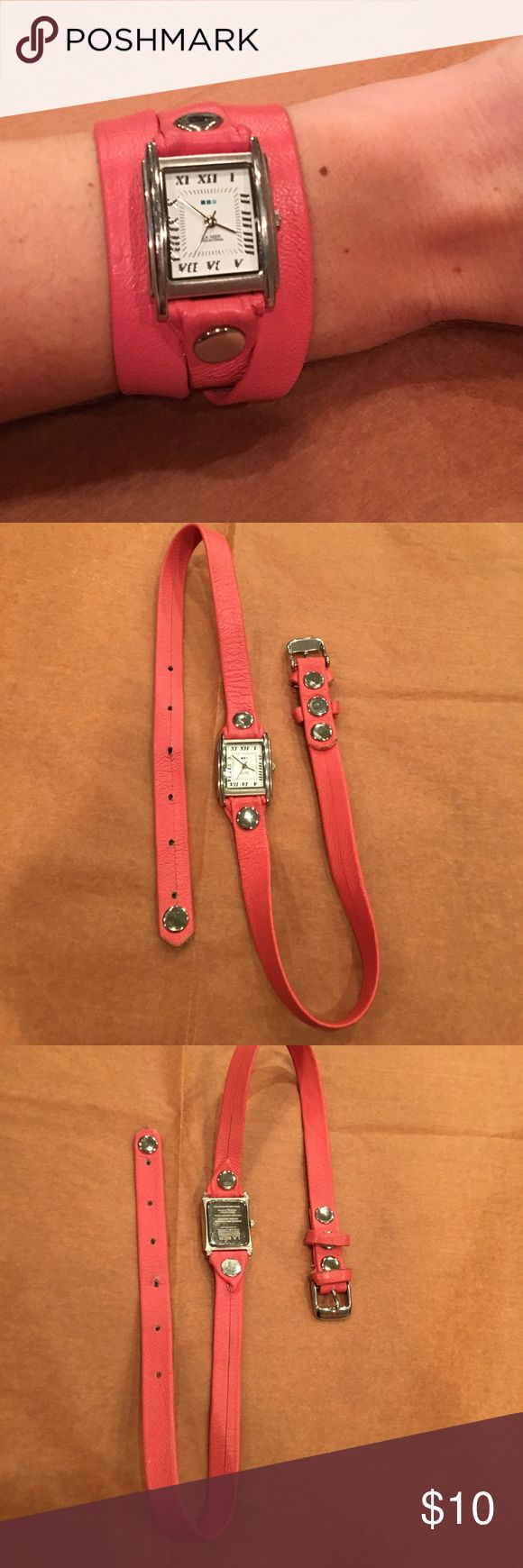 La Mer Collection Leather Wrap Watch Needs Battery Coral colored leather wrap watch. Pre-loved and worn a handful of times. See pics for closer detail. Needs battery replaced!!!! La Mer Accessories Watches
