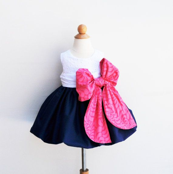 Flower Girl Dress - Large Bow Bash - Navy Blue with Pink Color - Formal Dress - 1st Birthday - Baptism - KK Children Designs - 6M to 7
