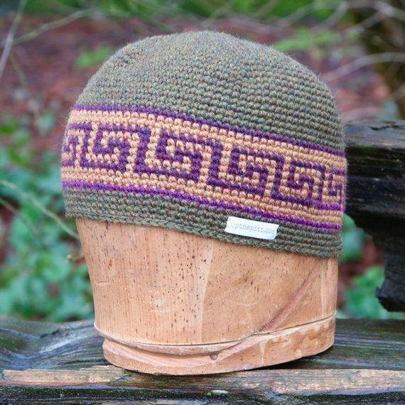 Wool beanie, unisex snowboarding hat, tapestry crochet by @UpthePitt www.upthepitt.com