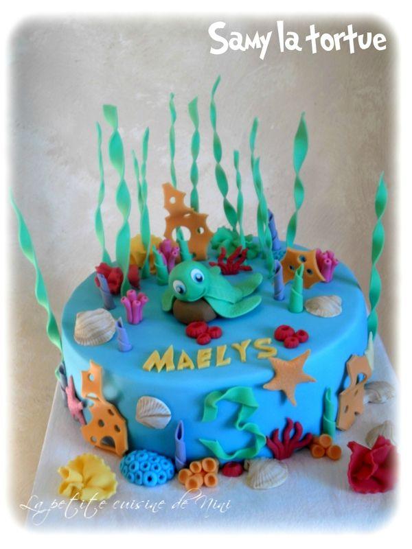 Sammy turtle cake gâteau Samy la tortue thème marin, mer, océan