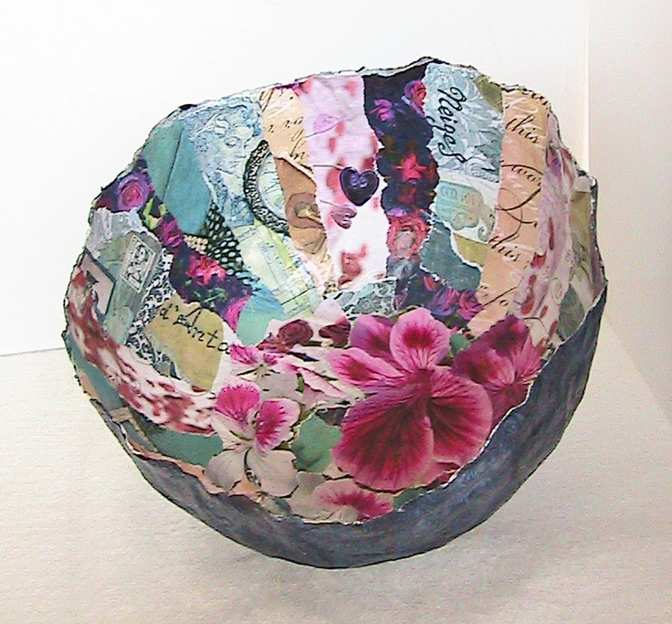 Collage papier mache bowl.