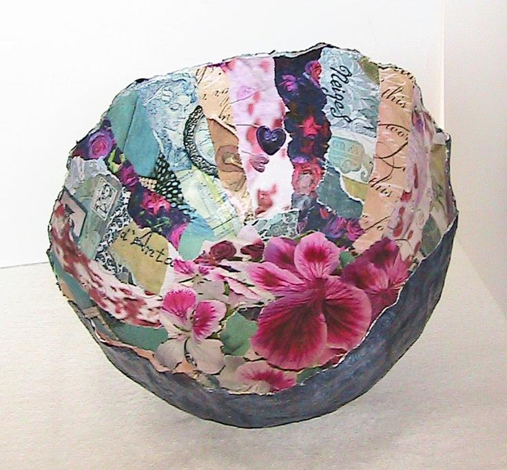 Collage papier mache bowl.Nx