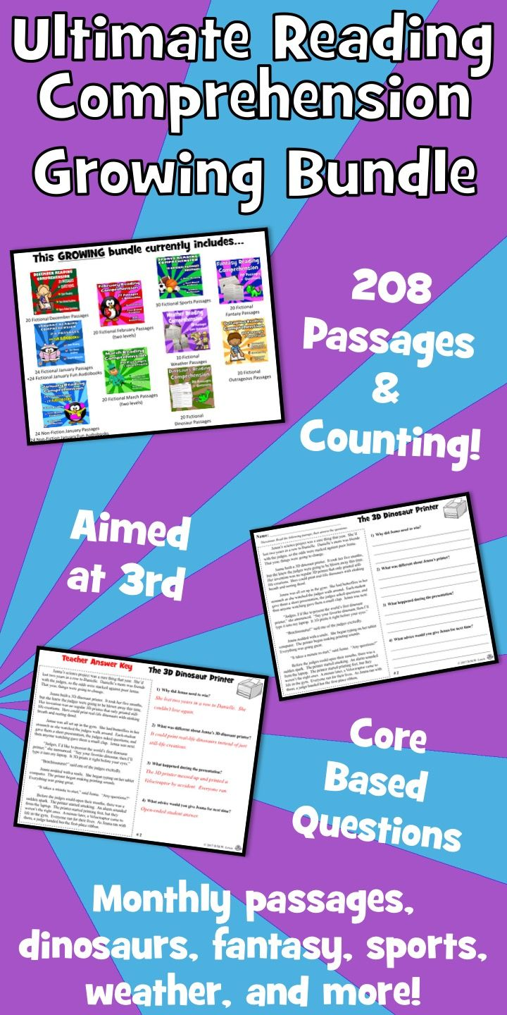 208+ original reading comprehension passages with close reading, text  evidence, and open ended