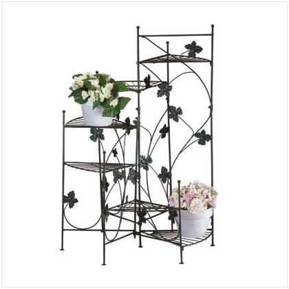 """Ivy-motif plant stand with six shelves. Green metal. 22 1/4"""" x 22 1/2"""" x 38 1/2"""" high. Exclusive."""
