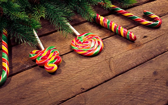 Download wallpapers Christmas, New Year, lollipops, 2018, Christmas tree