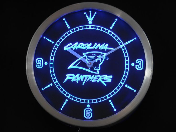 nc0523 Carolina Panthers Neon Sign LED Wall Clock