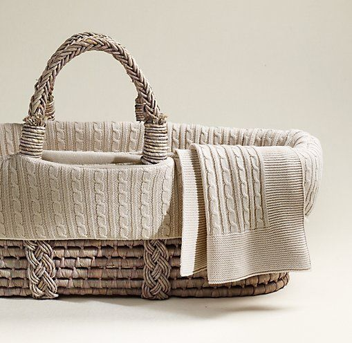 Cable Knit Moses Basket Bedding & Ash Basket Set | Moses Basket & Bassinet Bedding | Restoration Hardware Baby & Child