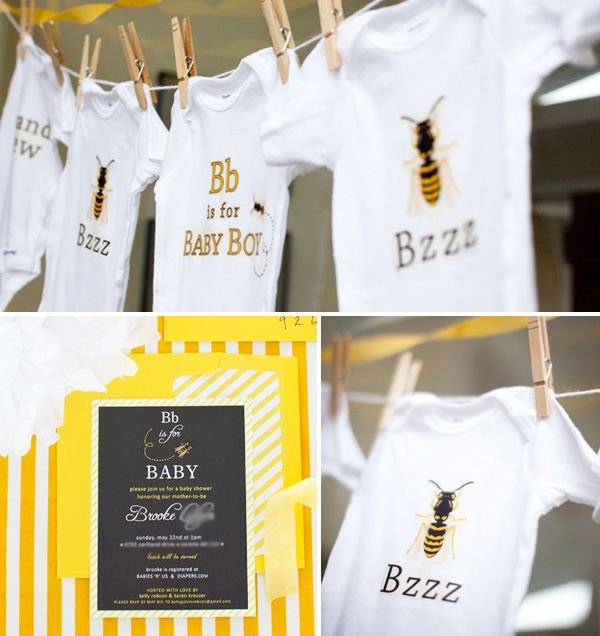 "Decor Idea:  A few onesies on a clothesline with a ""B"" theme (B is for Baby Boy , Mommy-to-Be, etc)"