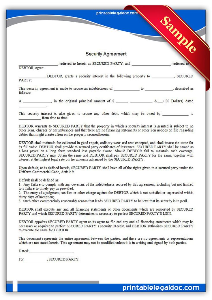 A security agreement is a contract between a lender and borrower that states that the lender can repossess the personal property a person has offered as collateral if the loan is not pas as agreed. This is similar to the mortgage or deed of trust. The security agreement must include a written description of the property being purchased and signed by both parties because it is a contract.