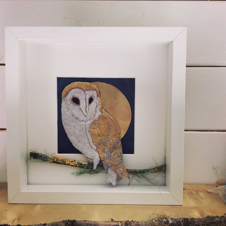 Barn owl. Hand embroidered. Violet Shirran. Textile Artist