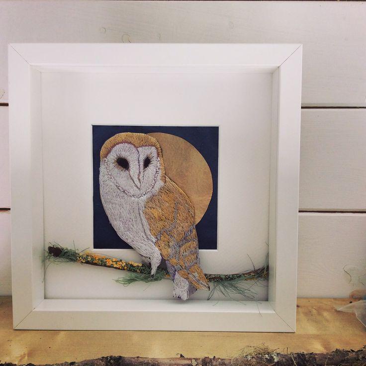 Barn owl. Hand embroidered. Violet Shirran. Textile Artist