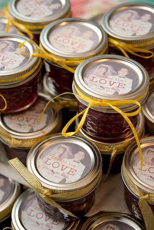 Cute Personalized Label On Jam For Golden Anniversary Favors