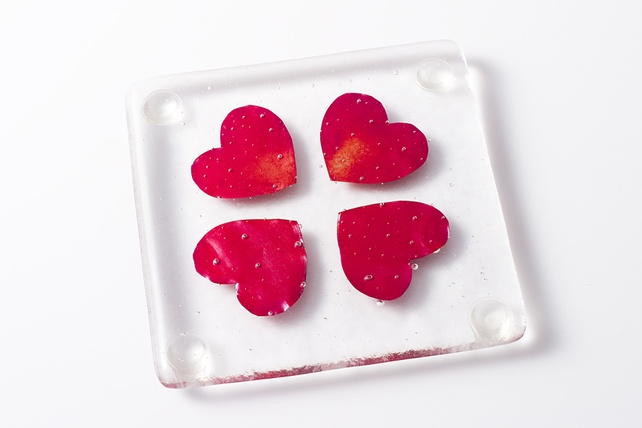 Lucky Hearts Fused Glass Coaster Pair £15.00