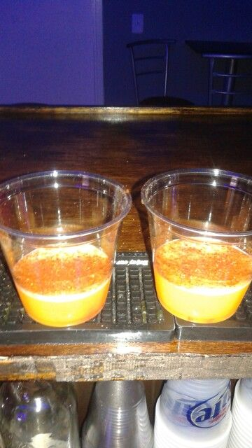 Mango Shots With A Little Chamoy On The Bottom Topped Sweet Y Chili Powder New Tails And Other Drinks Pinterest