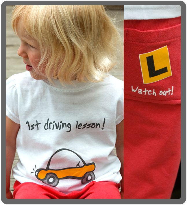 1st Driving Lesson - Baby & toddlers outfit. 100% cotton, proudly made in New Zealand. http://www.thebabycollection.co.nz/products-page/the-baby-collection/1st-driving-lesson/