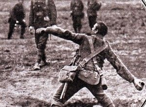 'Grenadier' throwing a 'grenade' Whoops! 'Bomber' throwing a 'bomb', in World War One.