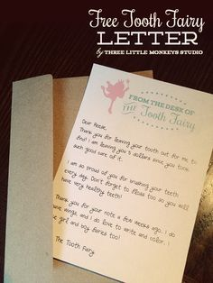 "Free Tooth Fairy Letter by Three Little Monkeys Studio || threelittlemonkeysstudio.com. ""From The Desk of The Tooth Fairy"" great template, printable letter for kids!"