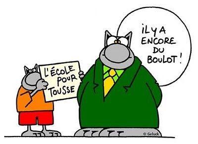 L'école pour tous...enfin, presque! Personnage: Le Chat. Dessinateur et auteur: Philippe Geluck (Belgique)