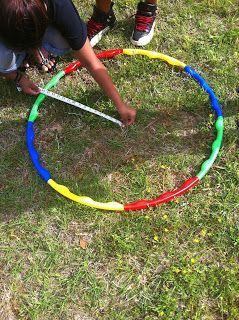 Area of a circle with a hula hoop.  Use a tape measure.  Allow student to figure out the circumference on their own.