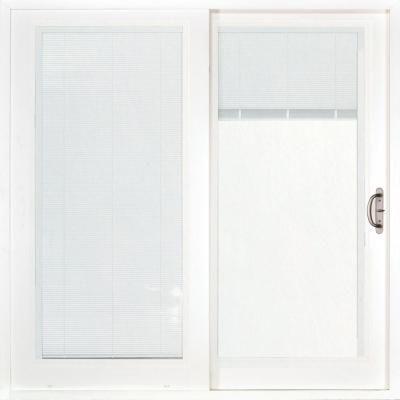 Stanley Doors 60 In X 80 In Double Sliding Patio Door With Internal Mini Blinds 500004 Vinyl Sliding Patio Door Double Sliding Patio Doors Patio Doors