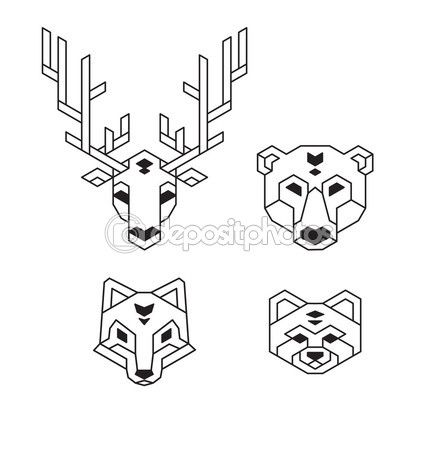 Stylized geometric animal heads (deer, bear, wolf or fox and red panda) in polygonal wireframe style. — Illustrazione vettoriale #75157967