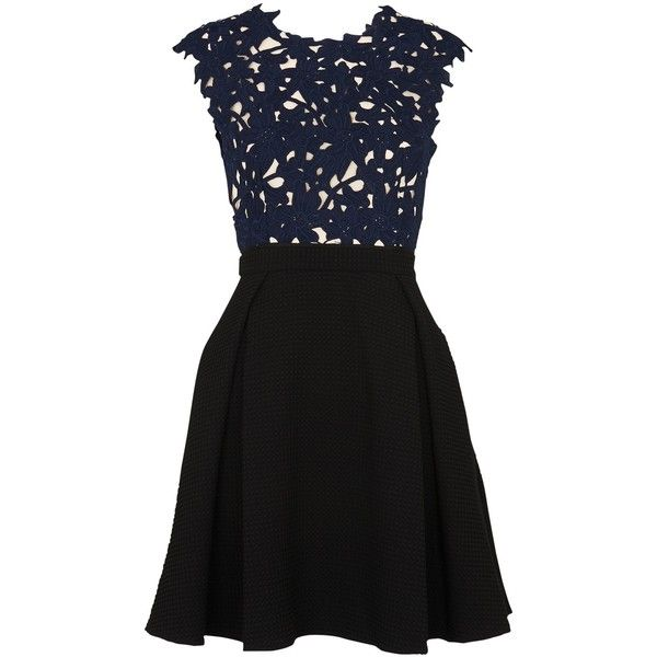 Whistles Maya Lace Dress, Navy/Black ($290) ❤ liked on Polyvore featuring dresses, maxi dresses, floral-print dresses, navy cocktail dress, navy blue maxi dress and midi cocktail dress
