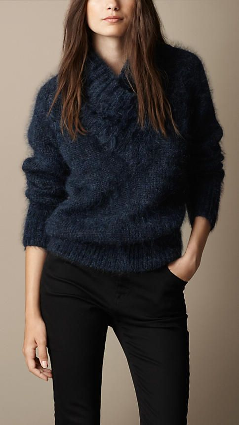 Burberry Brit Brushed Mohair Blend Shawl Collar Sweater