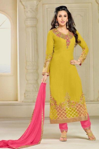 6a76bacb78 Karishma Kapoor Yellow Color Georgette Designer Function Wear Salwar Suit