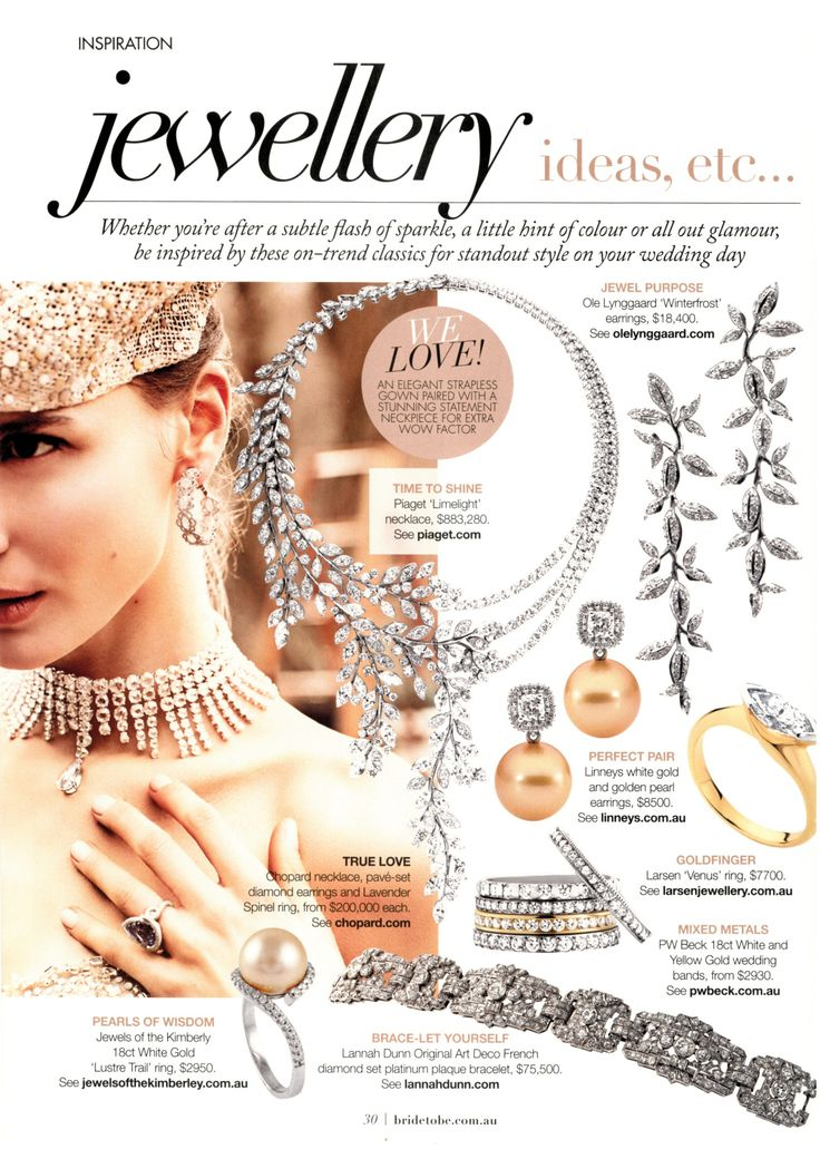 One of eight placements in Bride To Be May/Jun/Jul 2014 issue featuring OLE LYNGGAARD COPENHAGEN's Winterfrost Earrings