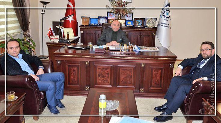 Rize Ticaret Borsası Yönetim Kurulu Başkanı Mehmet Erdoğan, Erzurum Ticaret ve Sanayi Odası (ETSO) Meclis Başkanı Saim Özakalın'ı ziyaret etti.