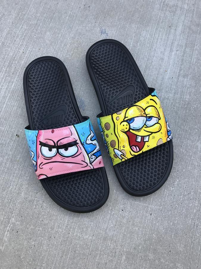 Spongebob Squarepantsthemed Hand Painted Nike Slides Aka